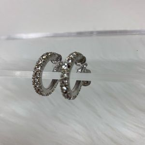 Silver crystals diamonds hoop earring screw back